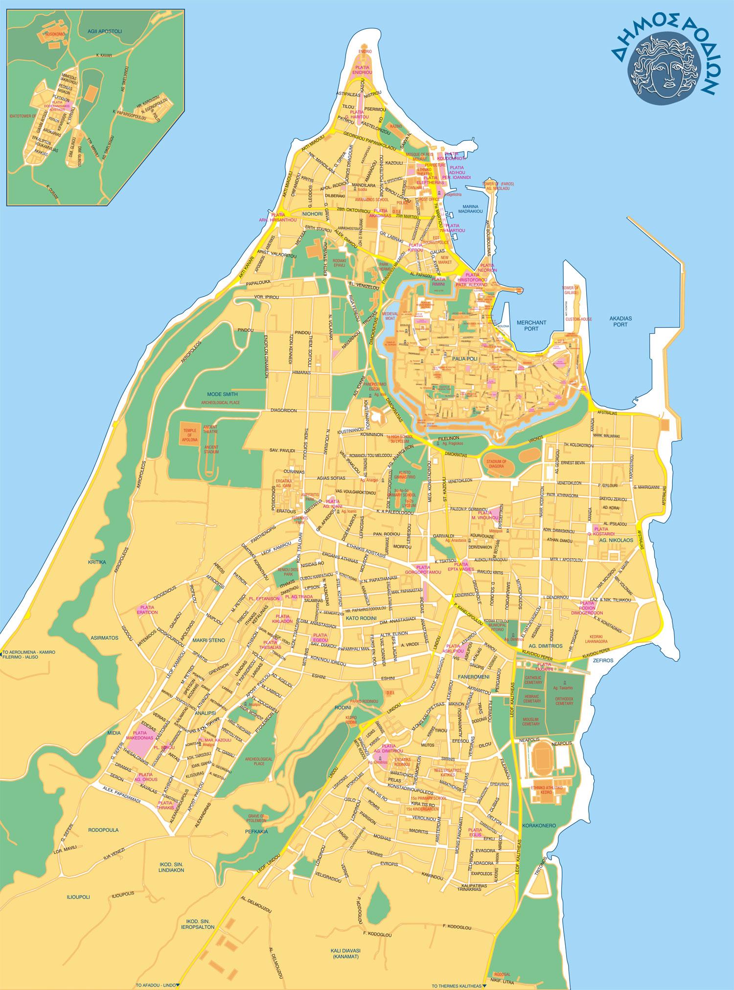 Mapa Rhodos